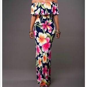 🌺 Hawaiian 🌺 floral print off the shoulder dress